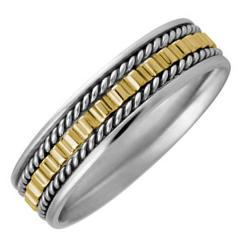 Two Tone Platinun And 18K Gold Women'S Gear Pattern Wedding Band (5.5Mm) Size-4