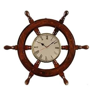 Pindia Decor Fancy Vintage Ship Stering Wheel Shaped Wooden Wall Clock