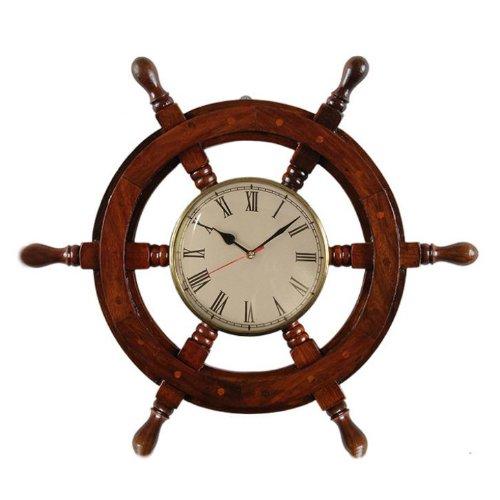 Pindia Fancy Vintage ship stering wheel shaped wooden wall clock