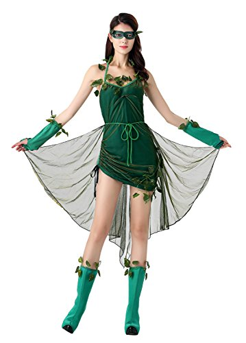 [Kimring Women's Lethal Beauty Poison Ivy Batman Costume Halloween Outfit Dress with Detachable Train Green] (Halloween Costumes Poison Pixie)