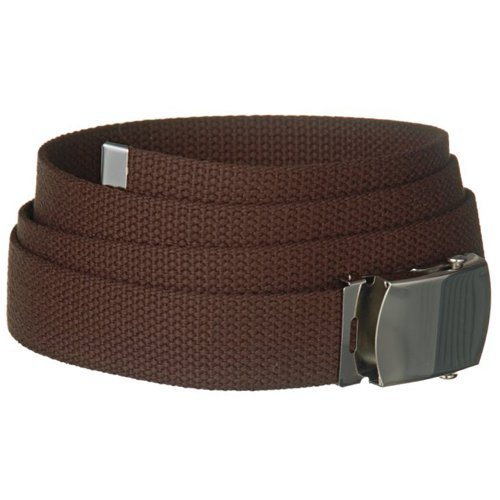 brown one size canvas web belt with silver slider