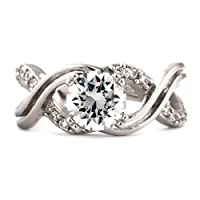 Kellie E: 2.26ct Brilliant-cut Russian Ice on Fire Diamond CZ Wedding Engagement Ring, 925 Sterling Silver (avail. in sizes 4 thru 12.25) from 1000 Jewels