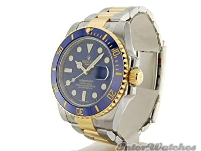 Rolex Submariner Stainless Steel Yellow Gold Watch Diamond Dial 116613