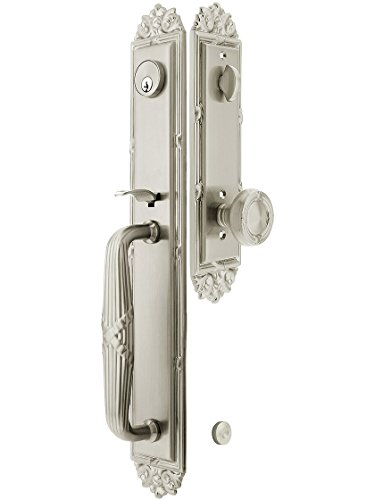 """Imperial Style Tubular Handleset In Satin Nickel With Ribbon & Reed Knobs And 2 3/4"""" Backset. Antique Door Handle. front-927434"""