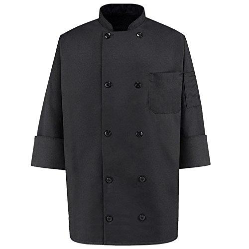 350 Chef Apparel 10 Pearl Button Chef Coat-Easy-Care Twill - Black, Medium