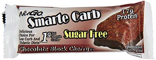 NuGo Smarte Carb Bar, Chocolate Black Cherry, 1.76-Ounce Bars (Pack of 12)
