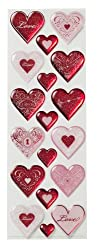 Martha Stewart Crafts Foil Heart Epoxy Stickers