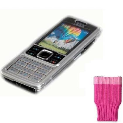 CRYSTAL HARD CASE & PINK SOCK FOR NOKIA 6300 MOBILE PHONE