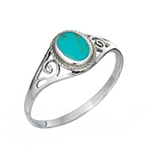 Silver Elements Sterling Silver Turquoise Tone Ring N
