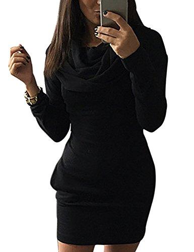 Minetom Donna Autunno Casual Maniche Lunghe Tasca Slim Felpa con cappuccio Pullover Giacca Outwear Nero IT 40