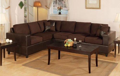 Buy Low Price Poundex 2pcs Sectional Sofa Set with Reversible Loveseat Wedge in Chocolate Color (VF_F7631)