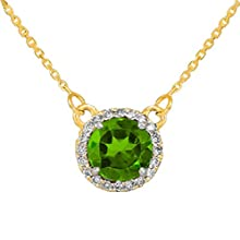 14k Yellow Gold Diamond-Accented Natural Peridot Solitaire Necklace