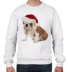 Bulldog With Santa Claus Hat Christmas Men's Sweatshirt \ Jumper from Tribal T-Shirts