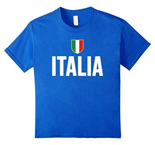 Kids ITALIA T-shirt 2016 2017 ITALY Italian Flag Men Women Kids 6 Royal Blue (Italian Rugby compare prices)