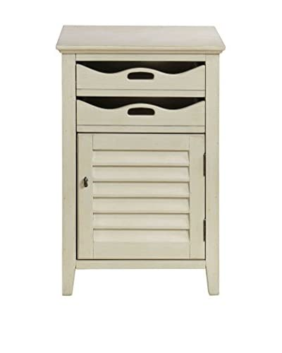 Coast to Coast Scalloped 1-Door 2-Drawer Tray Cabinet, White