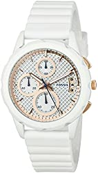 Fossil Women's Quartz Stainless Steel and Silicone Automatic Watch, Color:White (Model: ES3981)