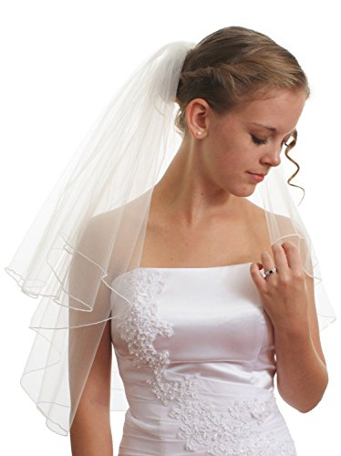 Puauaula SparklyCrystal Women's Bridal Wedding Veil 2 T Pencil Silver Lined Edge Shoulder Length 22 (Light Ivory)