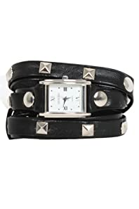 Big Stud Rectangle Face Wrap Watch with Silver Accents in Black