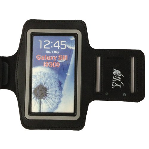 Black-Gray Gym Running Sport 9300 Armband Case Skins Compatible With Samsung Galaxy S3 Siii I9300 Armband Cover
