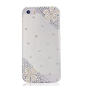 VCOER Schutzhülle Apple iPhone 4 4G 4S Hülle (harte Rückseite) 3D Bling Glitzer Transparent Strass Tasche Hülle Etui mit Blume