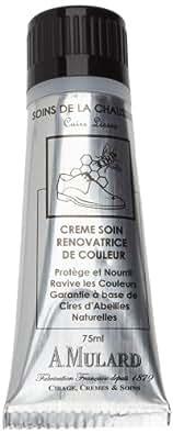 Crème Soin Rénovatrice de Couleur Avec Tampon Applicateur - Fabrication Française - Pour Cuirs Lisses - Coloris Blanc