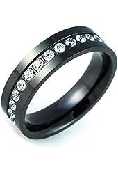 6mm High Polished Black Titanium with Round CZ Cubic Zirconia Eternity Wedding Band