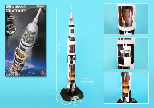 4D Vision Saturn V Cutaway Model 1/100 Scale Quality Space Rocket Puzzle / NASA Human-rated Expendable Rocket / Unique and Perfect Collectible Gift Idea / Aviation Historical Replica Gift Toy