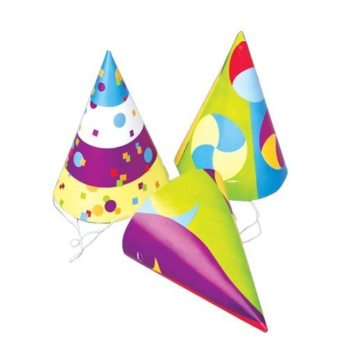 "US Toy - Dozen Assorted Design Paper Birthday Party Hats With Chin Straps,7"" - 1"