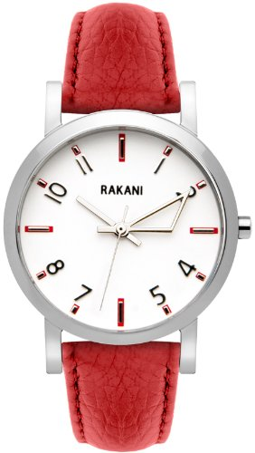 Rakani +5 40mm White Watch with Red Leather Band
