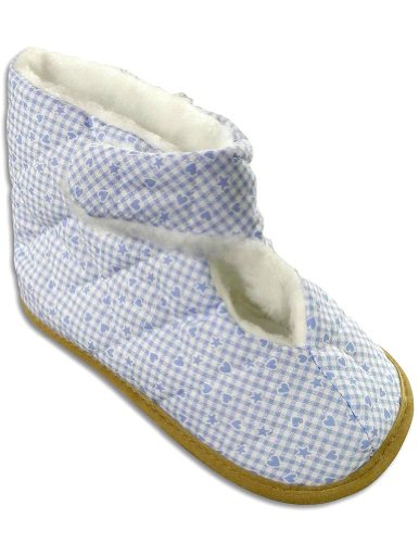 Cheap Private Label – Ladies Gingham Bootie Slipper, Light Blue, White 25006 (B004Z9497C)