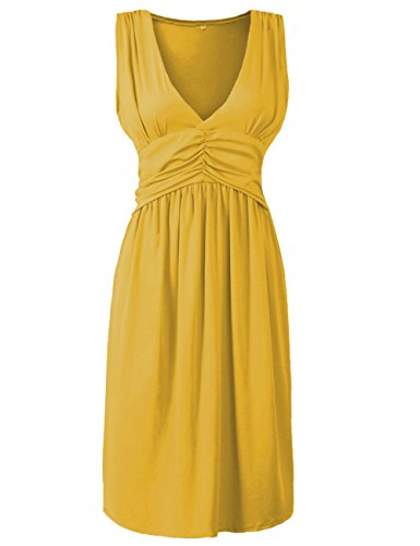 Anca Demi Women's V-Neck Sleeveless Fit And Flare Ruched Waist Skater Dress Plus Yellow M