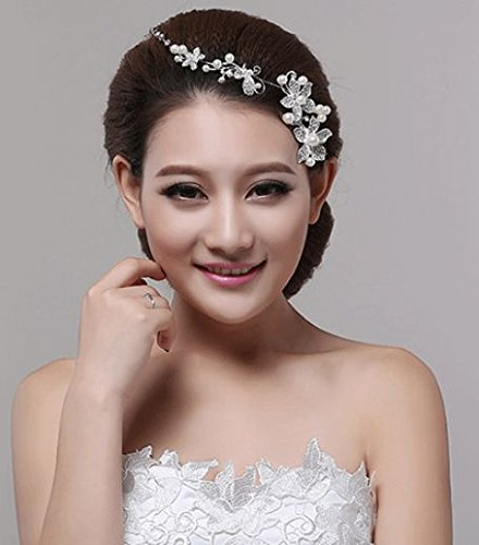 ヘッド ドレス アクセサリー お花 パール ホワイト ウェディング 髪飾り レースグローブ