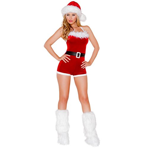 BOKOLI Women Sexy Christmas Santa Claus Velvet Costume Outfit Fancy Xmas Dress (Free Size, Red) (Santa Claus Costumes For Sale)