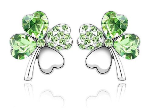 Swarovski Elements Sparkling Ladies Green Four Leaf Clover Earrings made with Austrian Crystal For Women