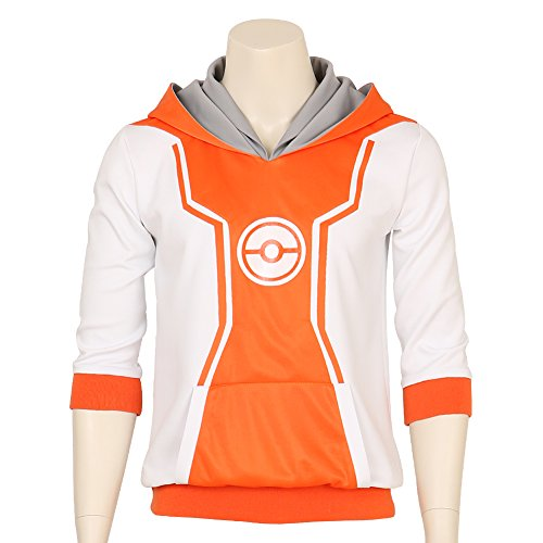 Mens-Pokemon-Go-Trainer-Figure-Orange-Hoodie-Team-Mystic-Instinct-Valor-Costume