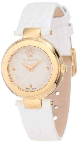 Versace Women's M5Q80D001 S001 Mystique Gold Ion-Plated Sunray Dial White Patent Leather Watch
