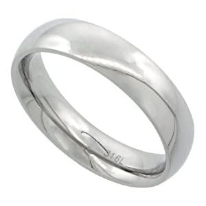 Surgical Steel 5mm Domed Wedding Band Thumb Ring Comfort-Fit High Polish, size 10 1/2