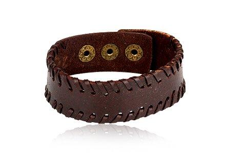 Fashion Dark Brown Leather Wrap Cuff Bracelet Bangle Men's Jewelry