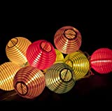 Set of 10 Multicolor Mini Oriental Style Nylon Lantern Plug-in String Lights - Indoor / Outdoor