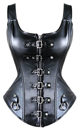 YIANNA Steampunk Punk Rock Faux Leather Buckle-up Corset Bustier Basque Top, YA1412-Black-2XL (Corset Tops For Women compare prices)