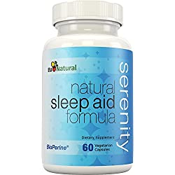 Serenity Natural Sleep Aid, 60 Vegetarian Capsules (Extra Strength Formula & Non-Habit Forming with Melatonin, Valerian, Chamomile, Passion Flower)