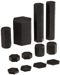 Frey Scientific 12 Piece Steel Hexagonal Metric System Mass Set, Black