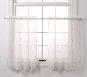 Stylemaster Renaissance Home Fashion Elena Embroidered Sheer Voile Tier Pair, 60-Inch by 24-Inch, Taupe