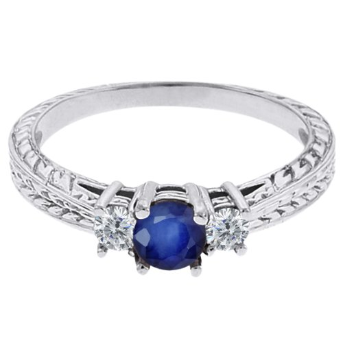 0.60 Ct Round Blue Sapphire G/H Diamond 14K White Gold 3-Stone Ring