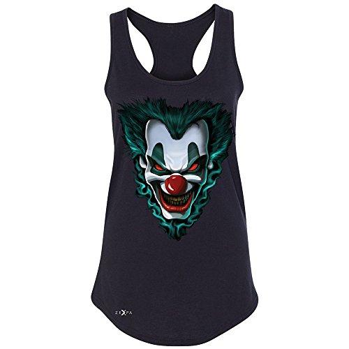 [Freakshow Joker Clown Scary Women's Racerback Halloween Eve Costume Sleeveless Black Large] (Amusement Clown Costume)