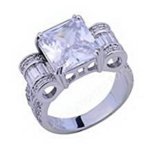 buy Jacob Alex Ring Jewelry Nice Rings Size6 White Sapphire Lady'S 10K White Gold Filled Gift
