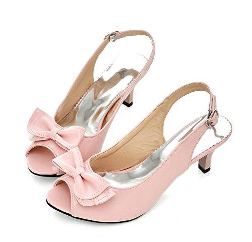 Aisun Women's New Patent Leather Peep Toe Kitten Heels Sandals Shoes