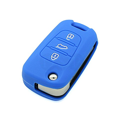 fassport-silicone-cover-skin-jacket-fit-for-kia-3-button-flip-remote-key-cv3151-deep-blue