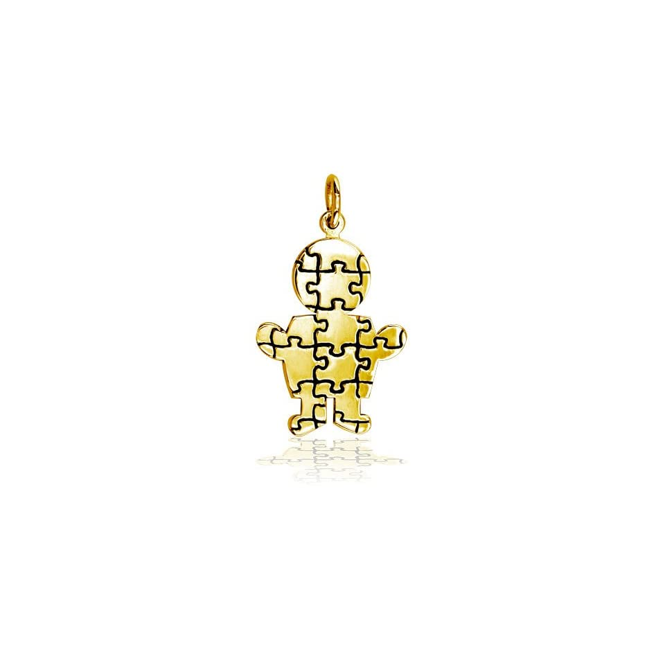 Large Size Autism Awareness Puzzle Boy Jewelry Charm in 18K yellow gold