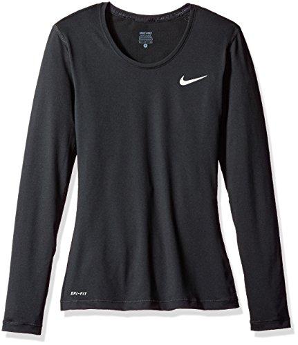 New Nike Women's Pro Cool L/S Shirt Black/White Small